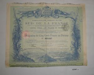 500 Francs Aktie Compagnie des Chemins de Fer Sud de la France 1888 (127447)