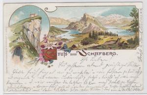 91768 AK Gruß vom Schafberg - Panorama mit Hütte Berghotel 1908