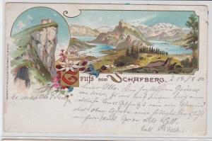 86116 AK Gruß vom Schafberg - Panorama mit Hütte Berghotel 1901