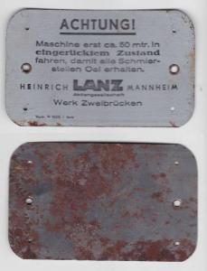 Seltenes Blech Maschinenschild Heinrich Lanz Mannheim Werk Zweibrücken (135506)