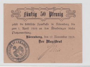 50 Pfennig Banknote Notgeld Stadt Nörenberg Ińsko in Pommern 1918 (135067)