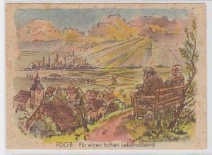 71982 Künstler AK FDGB Für einen frohen Lebensabend - Rentner schauen ins Tal
