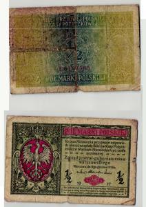 1/2 Marka Polska Banknote Polen 1917 Generalgouvernement (129153)