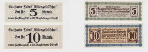 5 & 10 Pf Banknote Notgeld Sacharin Fabrik Magdeburg vorm.Fahlberg List (134804)