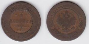 3 Kopeken Kupfer Münze Russland 1877 С.П.Б. (123833)