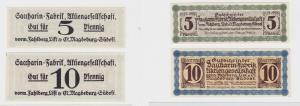 5 & 10 Pf Banknote Notgeld Sacharin Fabrik Magdeburg vorm.Fahlberg List (135580)
