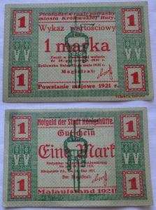 1 Mark Banknote Notgeld Stadt Königshütte Chorzów 1921 (102110)