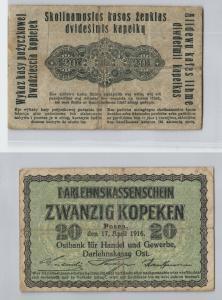 20 Kopeken Banknote Darlehnskasse Ost Sitz in Posen 1916 (129190)