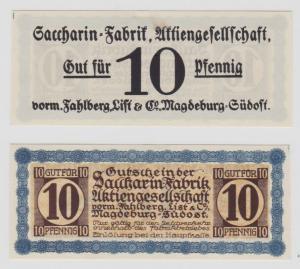 10 Pfennig Banknote Notgeld Sacharin Fabrik Magdeburg vorm.Fahlberg List(135062)