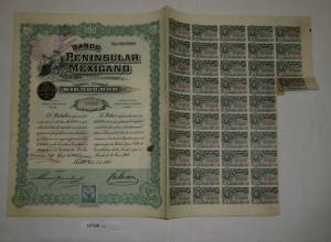100 Peso Aktie Banco Peninsular Mexicano Mérida 1. Juli 1908 (127320)