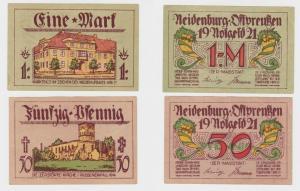 2 Banknoten Notgeld Stadt Neidenburg Ostpreussen 1921 fast kassenfrisch (135076)