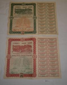 5 + 10 Aktien à 2 Peso Aktie Compañia de las Minas