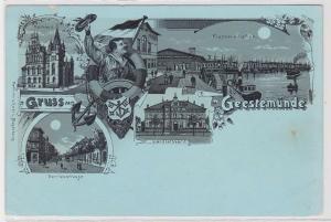 87520 Mondschein Lithografie AK Gruss aus Geestemünde - Rathaus & Hafen um 1900