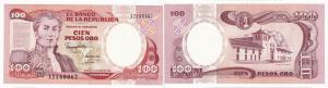 100 Peso Banknote Kolumbien Colombia 1991 bankfrisch UNC (129097)