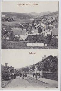 76301 Feldpost AK Schlacht bei St. Blaise-Pontay Bahnhof 1915