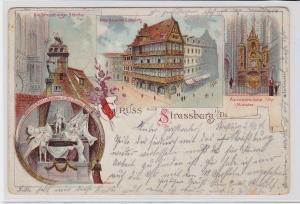 49364 Ak Litographie Gruss aus Strassburg im Elsass 1898