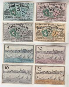 4 Banknoten Notgeld Masurens Hauptstadt Lyck 1920 (113509)