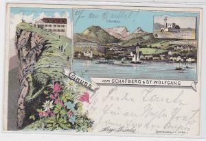 87047 AK Gruss vom Schafberg & St. Wolfgang - Aussichtsturm und Hotel Peter 1904