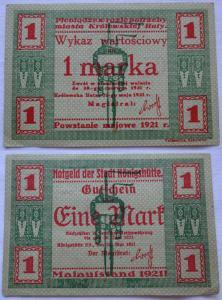 1 Mark Banknote Notgeld Stadt Königshütte Chorzów 1921 (103991)