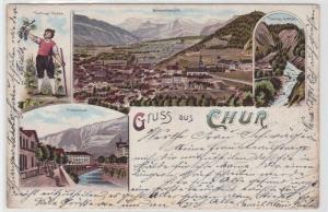 94264 AK Gruss aus Chur - Plessurquai, Passugg-Quellen & Veltliner Knabe 1900
