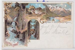 84696 AK Gruss von dem Sigmund Thun-Klamm - Kaprun, Wasserfallboden 1899