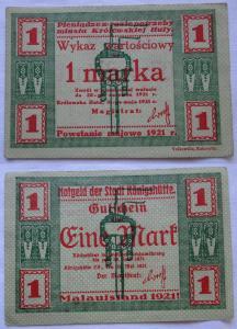 1 Mark Banknote Notgeld Stadt Königshütte Chorzów 1921 (108521)