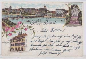 25200 Ak Lithographie Gruß aus Basel Totalansicht, Rathaus, Denkmal um 1900
