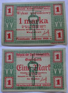 1 Mark Banknote Notgeld Stadt Königshütte Chorzów 1921 (104035)