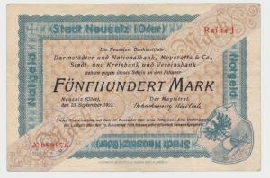 500 Mark Banknote Notgeld Stadt Neusalz (Oder) 23.10.1922 (135042)