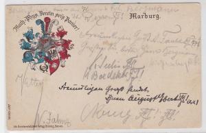 85878 Studentika AK Marburg - Math.-Phys. Verein sei's Panier! Wappen 1911