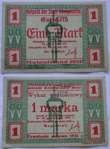 1 Mark Banknote Notgeld Stadt Königshütte Chorzów 1921 (102963)