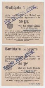 2 verschiedene 50 Pfennig Milch Gutscheine Stadt Leipzig (120559)