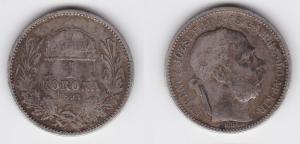 1 Krone Silber Münze Ungarn 1893 (123496)
