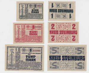 1,2 und 5 Mark Banknoten Notgeld Kreis Steinburg 1918 (135059)