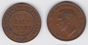 1/2 Penny Bronze Münze Australien Georg VI. 1938 (118427)