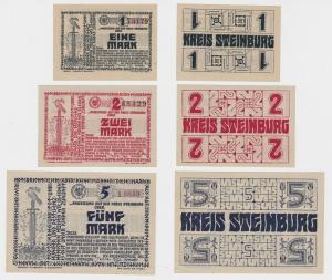 1,2 und 5 Mark Banknoten Notgeld Kreis Steinburg 1918 (135589)