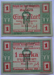 1 Mark Banknote Notgeld Stadt Königshütte Chorzów 1921 (101169)