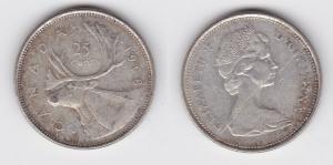 25 Cents Silber Münze Kanada Hirsch, Kopf 1968 (125313)
