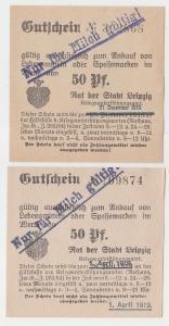 2 verschiedene 50 Pfennig Milch Gutscheine Stadt Leipzig (120679)