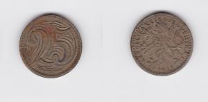 25 Heller Nickel Münze CSSR Tschechoslowakei 1933 (119818)