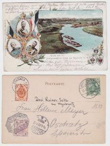 53529 Ak Gruß von der Dreikaiserreichs Ecke bei Myslowitz O.-S. 1903