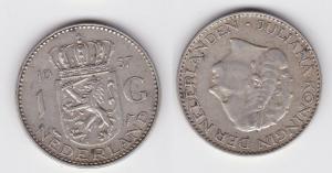 1 Gulden Silber Münze Niederlande 1957 (122335)