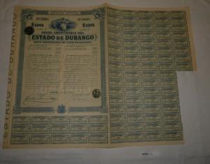 4x 100 Peso Aktie Deuda Amortizable del Estado de Durango 1. Juli 1910 (127394)