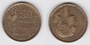50 Franc Messing Münze Frankreich 1952 Hahn (117100)