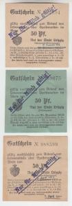 3 verschiedene 50 Pfennig Milch Gutscheine Stadt Leipzig (120642)