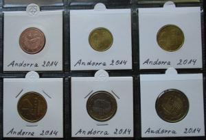 Kursmünzsatz Andorra 6 Münzen 5 Cent - 2 Euro 2014 Stgl. (124176)