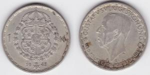 1 Krone Silber Münze Schweden 1942 (120764)