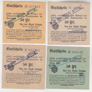 4 verschiedene 50 Pfennig Milch Gutscheine Stadt Leipzig (121029)