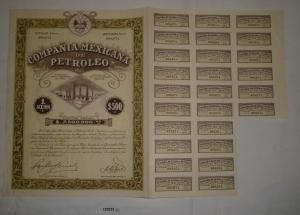 500 Peso Aktie Compañia Mexicana de Petroleo 3. Dezember 1929 (127023)