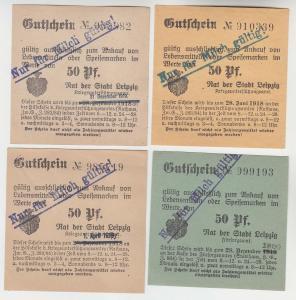 4 verschiedene 50 Pfennig Milch Gutscheine Stadt Leipzig (120528)